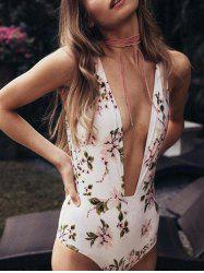 Plunging Neck Floral One Piece Swimwear -