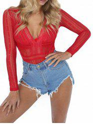 Cou plongeant See Through Lace Romper - Rouge M
