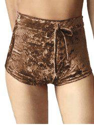 Drawstring Waist Velvet Mini Shorts -
