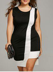 Plus Size Sleeveless Two Tone Bodycon Dress -