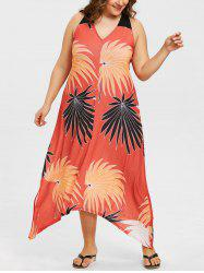 Plus Size V Neck Maxi Hawaiian Dress -