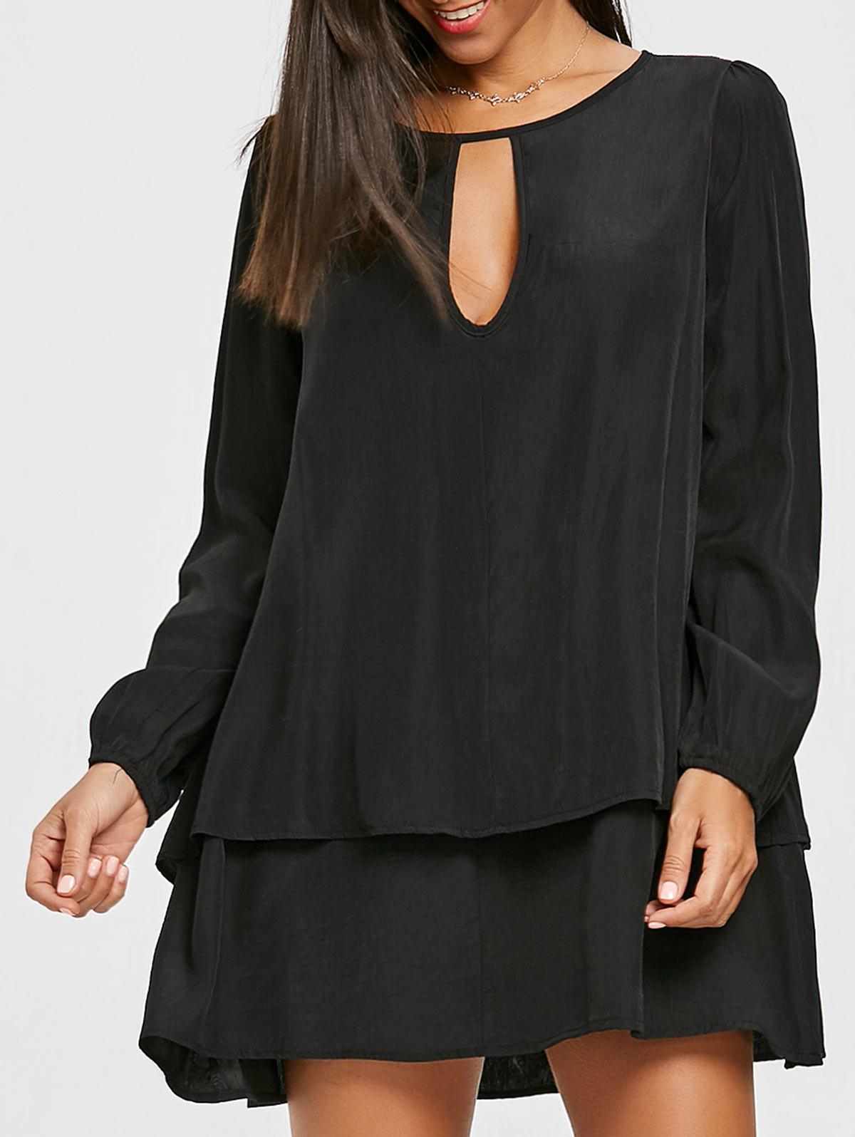 Trendy Front Cut Out Long Sleeve Layered Dress