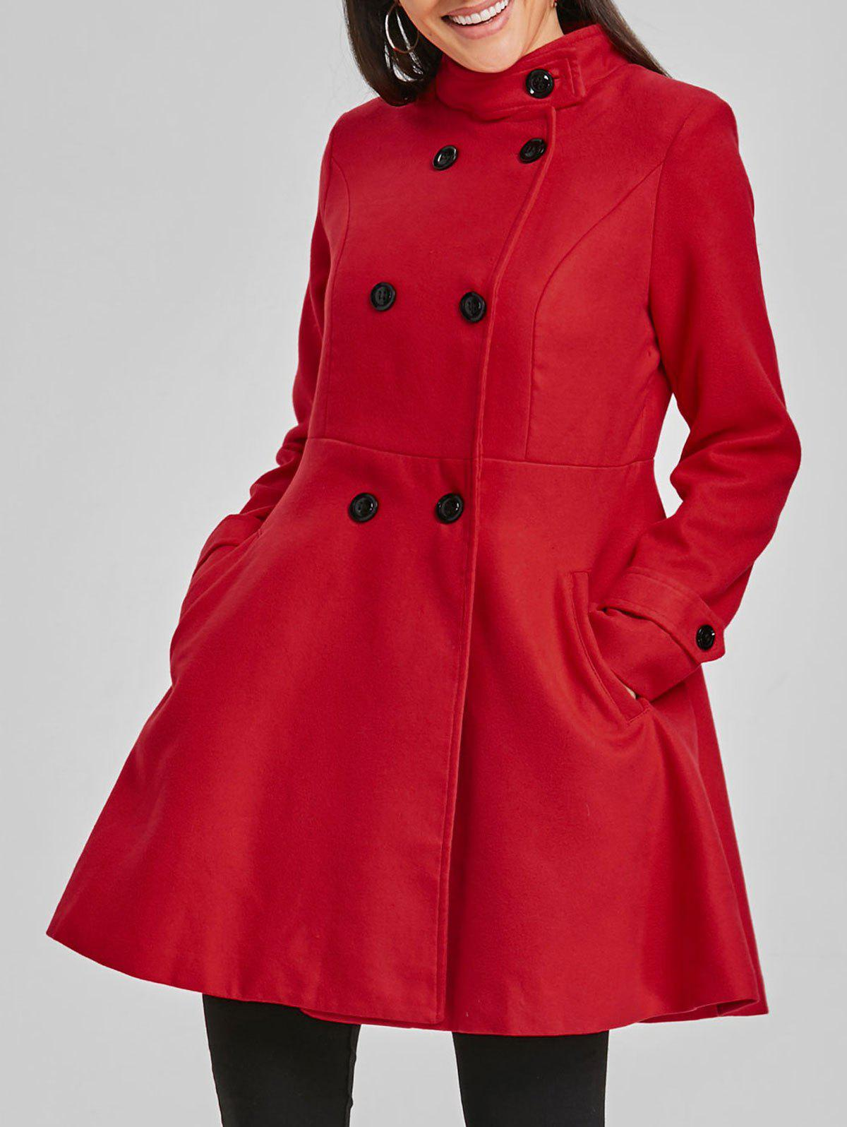 Latest Double Breasted Wool Skirted Coat