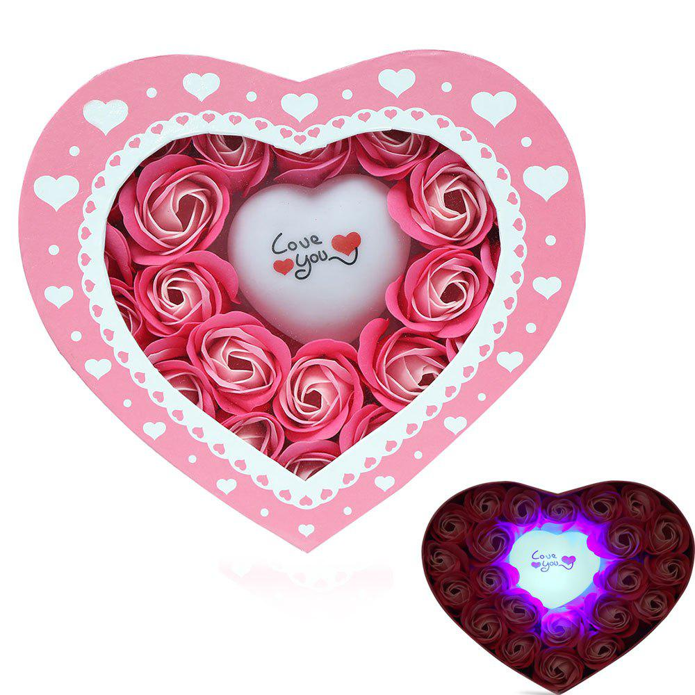 Pink 21*19*4.5cm Valentine\'s Day Gift Led Flash Light Heart And Soap ...