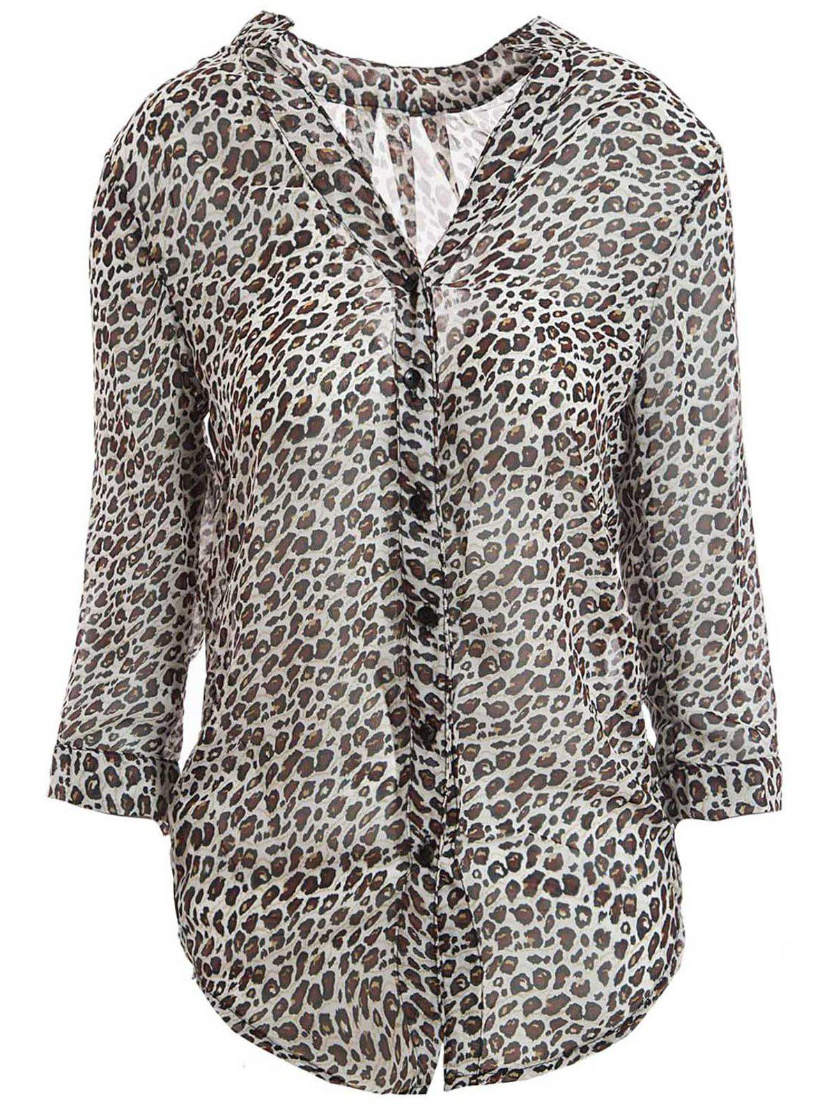 Outfit Leopard Print Stand Collar 3/4 Flanging Sleeve Chiffon Shirt
