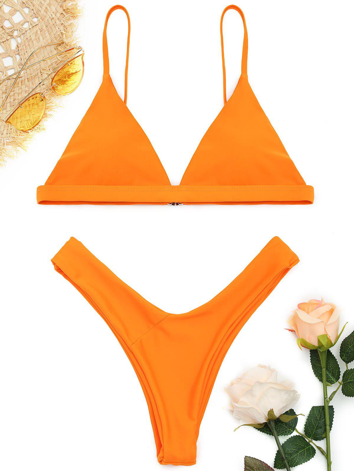 Shop Spaghetti Straps Soft Pad Thong Bikini Set