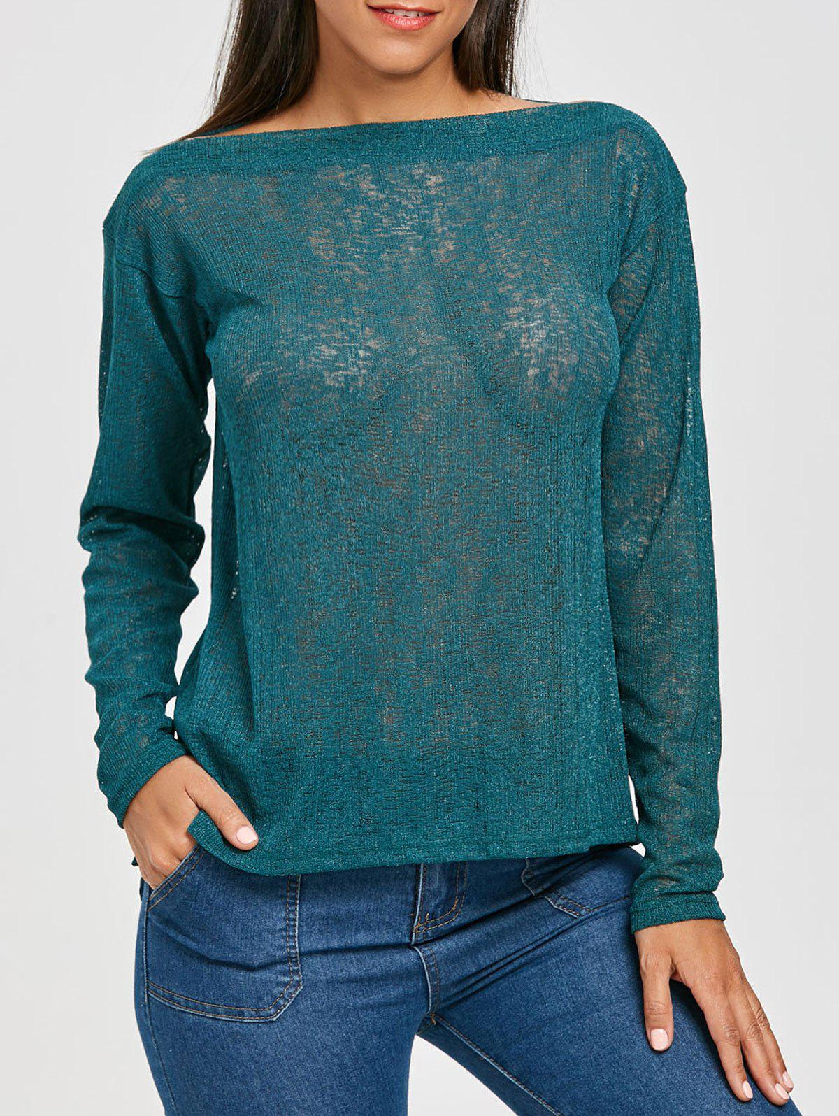 Online Slash Neck Semi Sheer Sweater