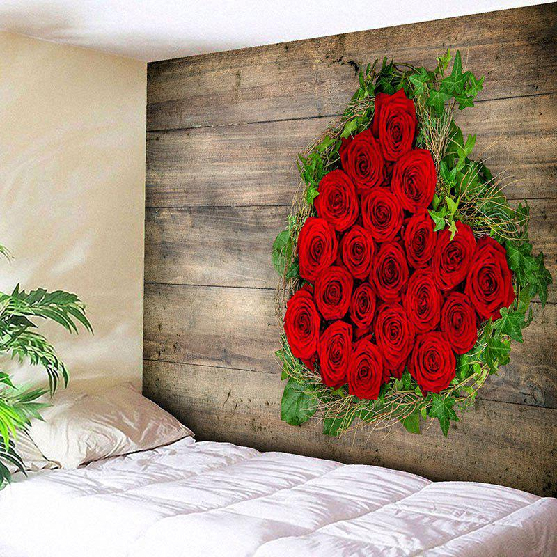 New Valentine's Day Roses Wood Grain Wall Art Tapestry