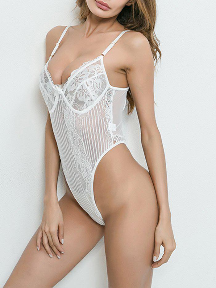 Sale Plunge See Through Lace Thong Bodysuit