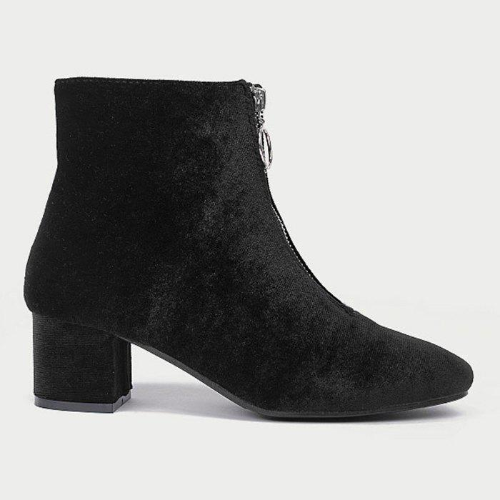 Store Front Zip Square Toe Velvet Ankle Boots