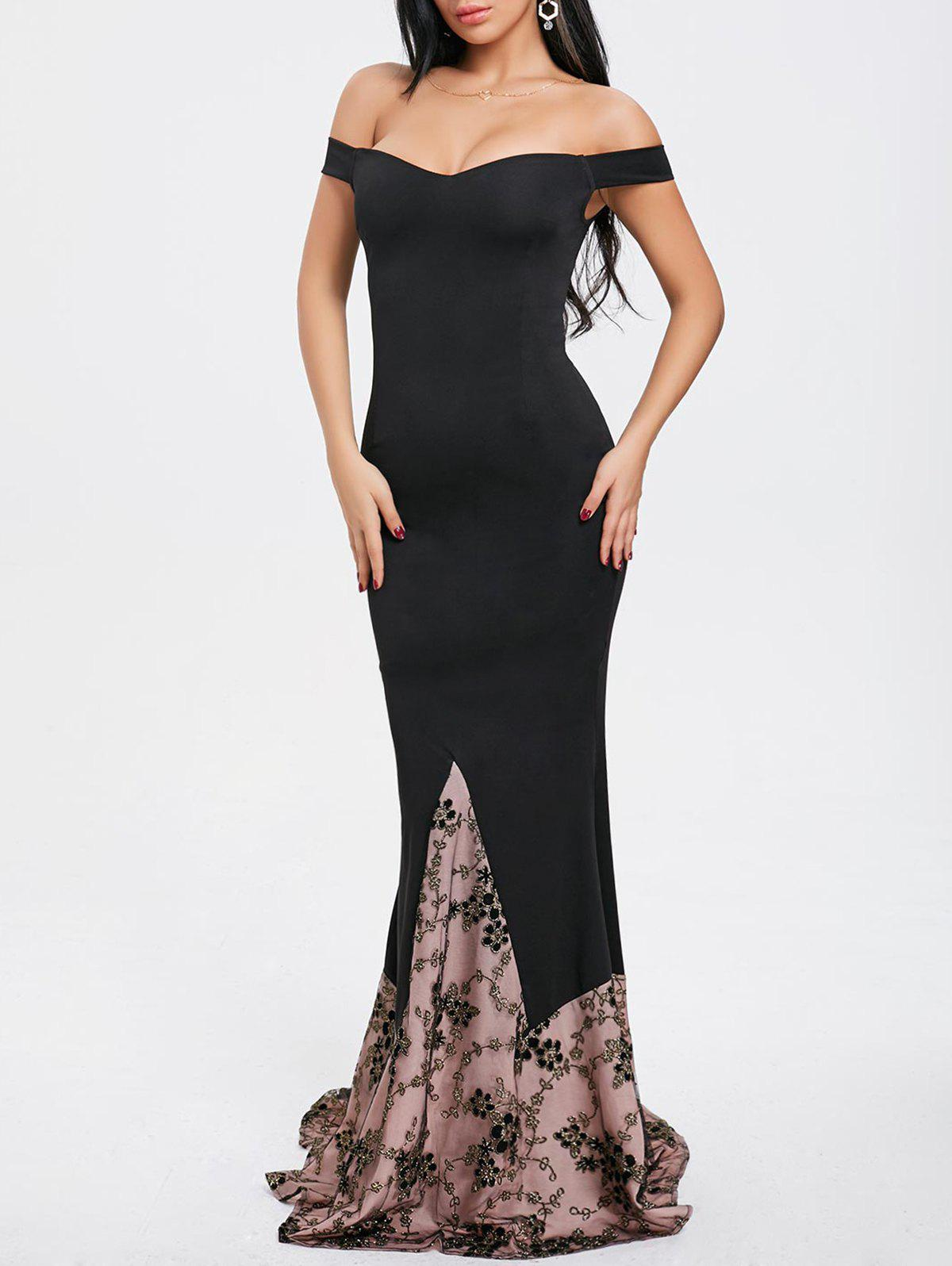 Unique Off Shoulder Maxi Evening Dress