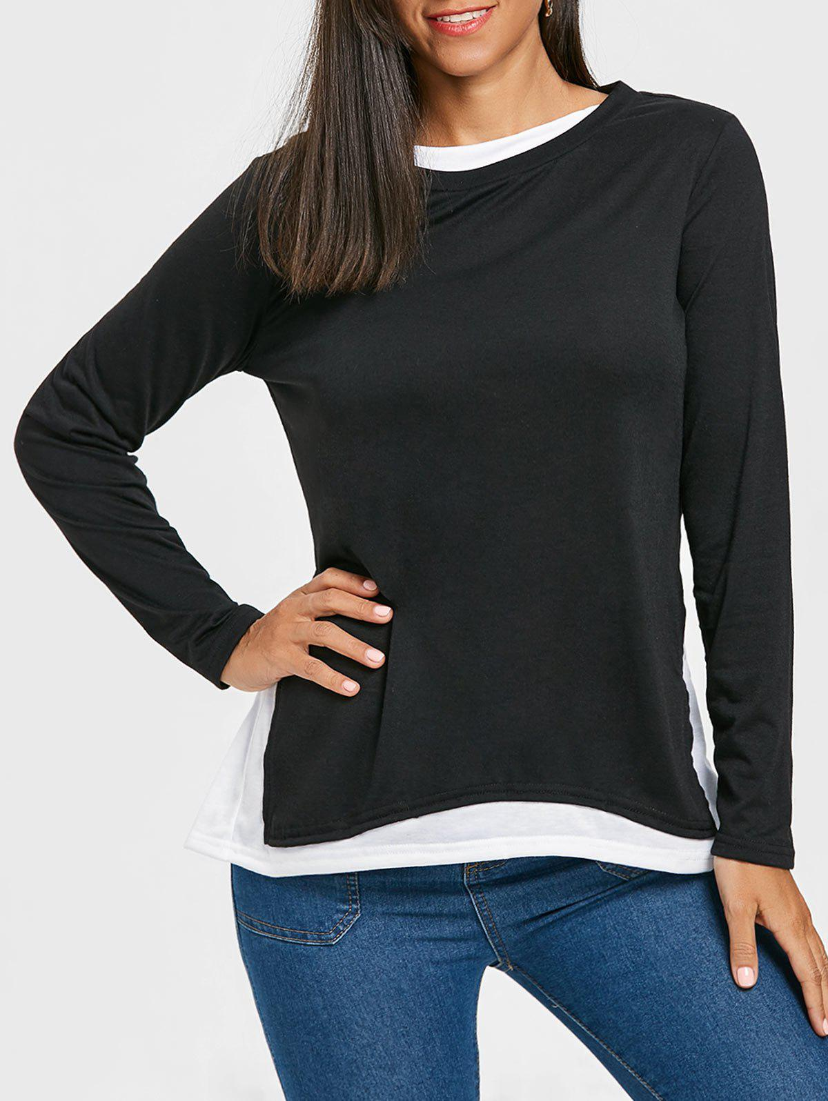 Outfits Two Tone Color Long Sleeve Top