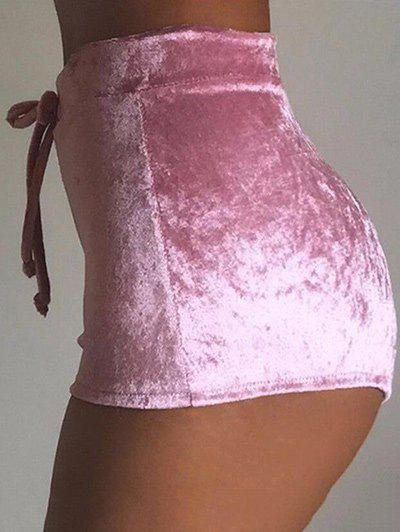 Trendy Drawstring Waist Velvet Mini Shorts
