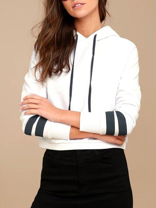 Affordable Drawstring Striped Sleeve Pullover Hoodie