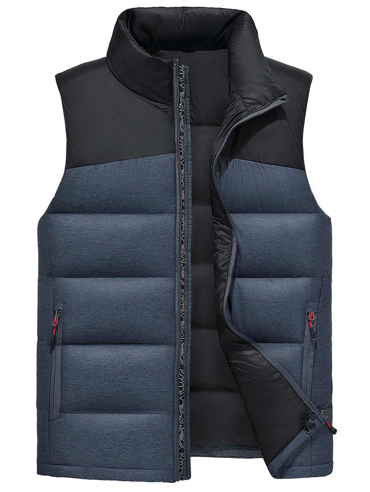 Online Color Block Zip Up Down Waistcoat