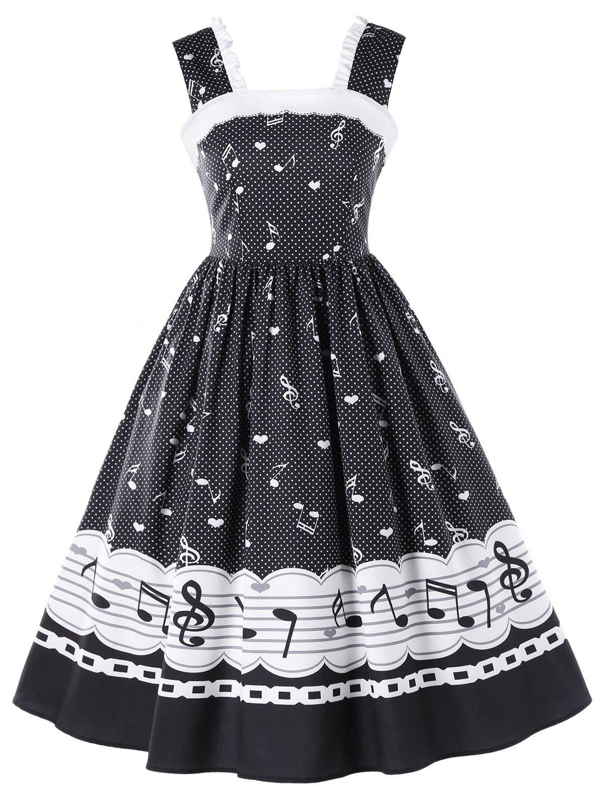 2019 Musical Notes Dotted Print Sleeveless Vintage Dress
