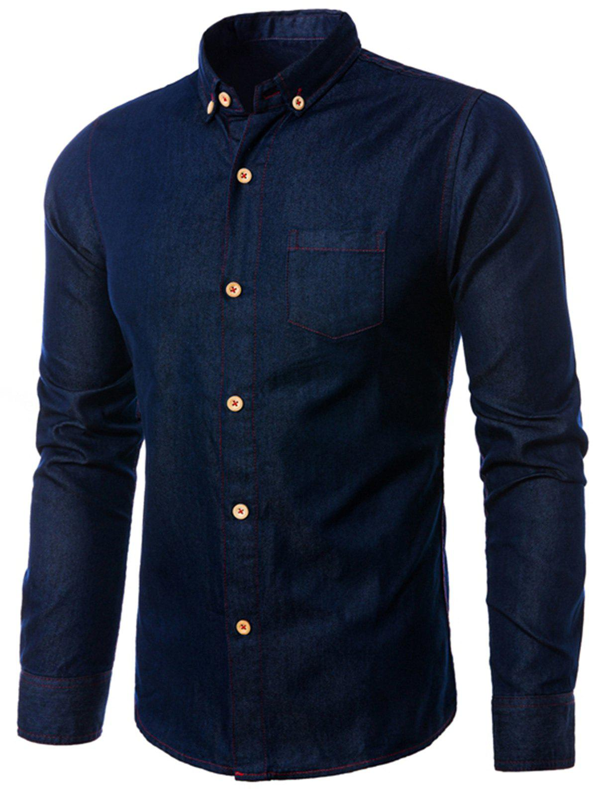 Fashion Pocket Denim Button Down Shirt