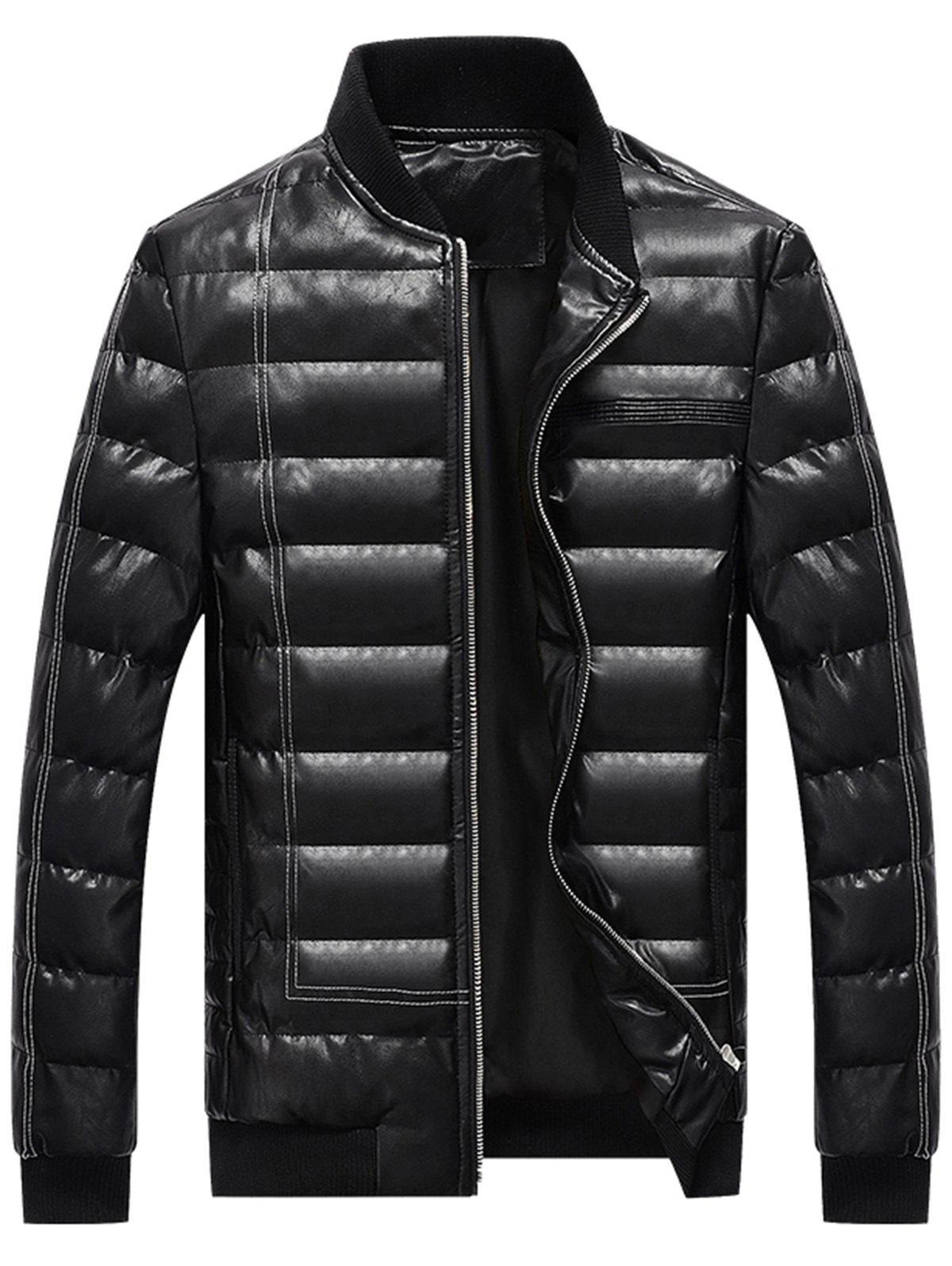 Hot Suture Zip Up PU Leather Padded Jacket