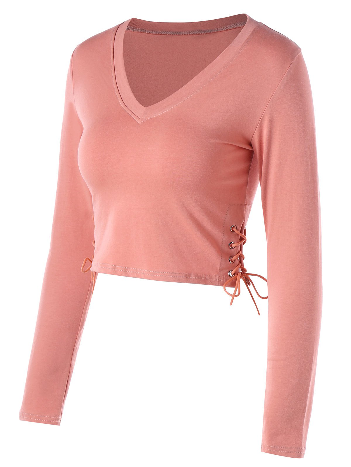 Fashion Cropped Side Lace Up Long Sleeve Top