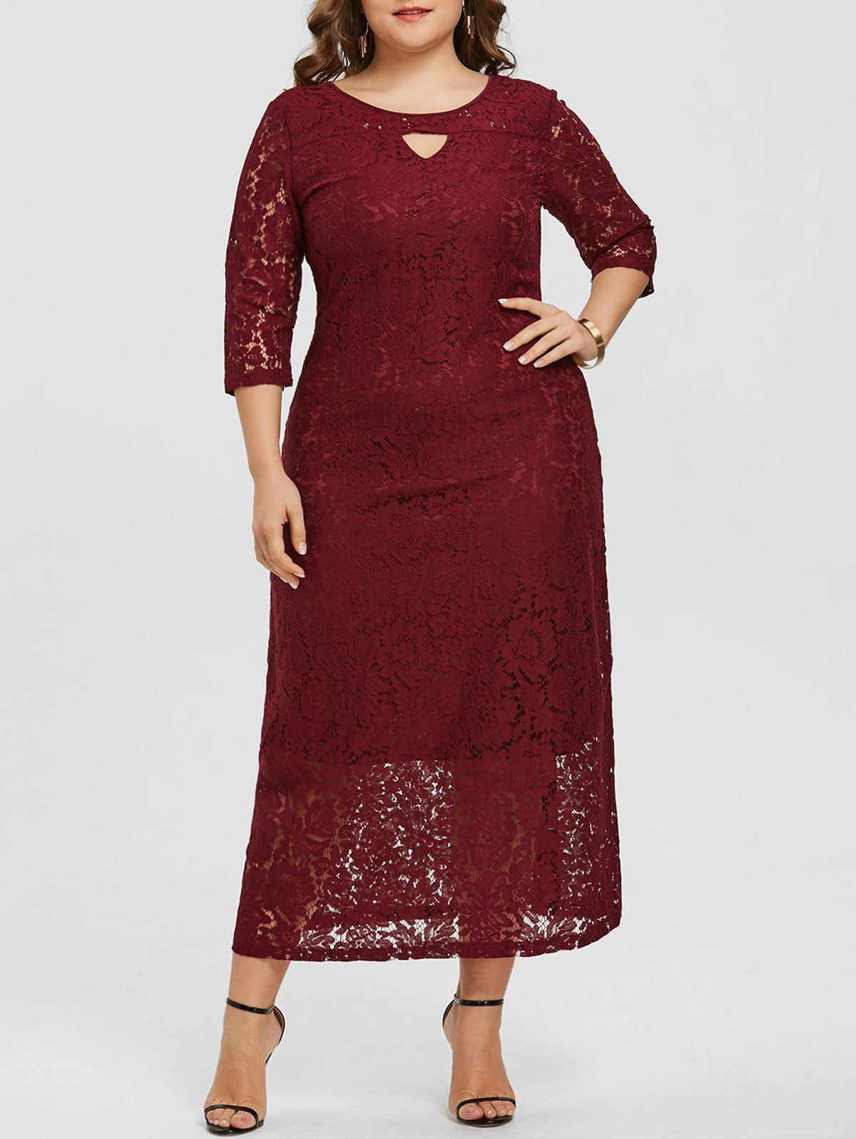 Fancy Floral Lace Keyhole Plus Size Dress