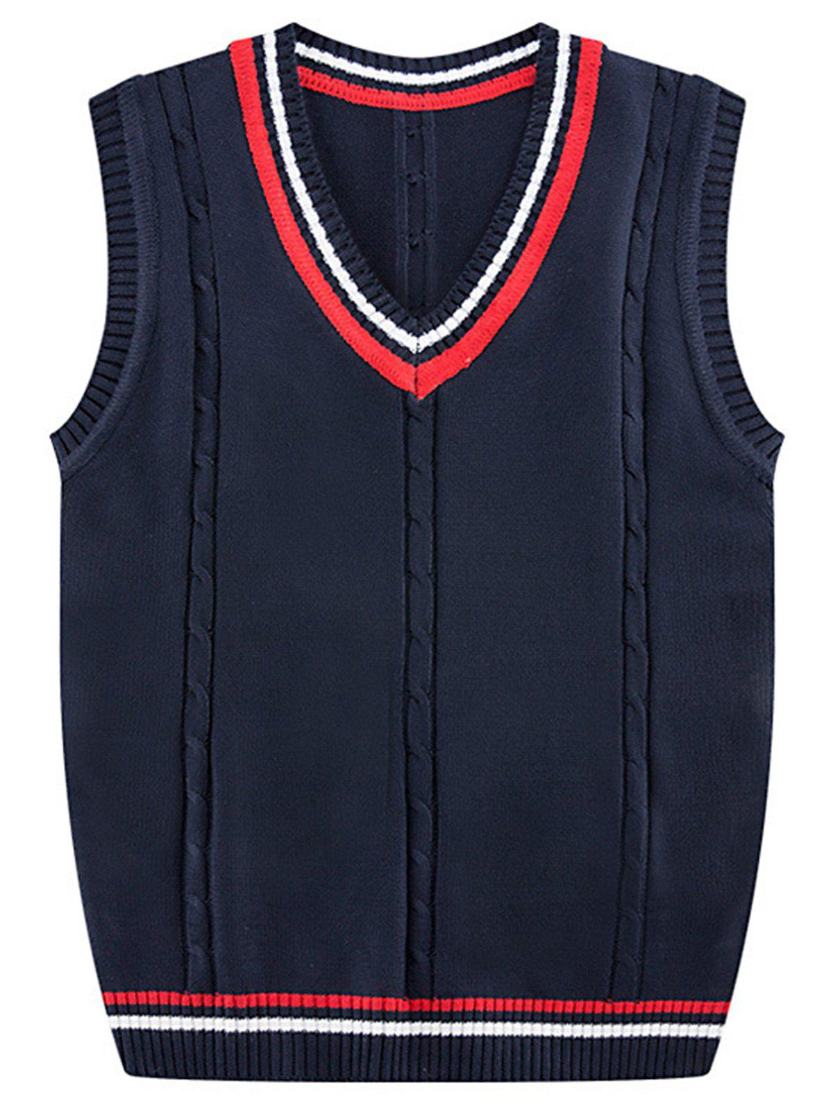 Discount Stripe Ribbed V Neck Kink Knitted Vest
