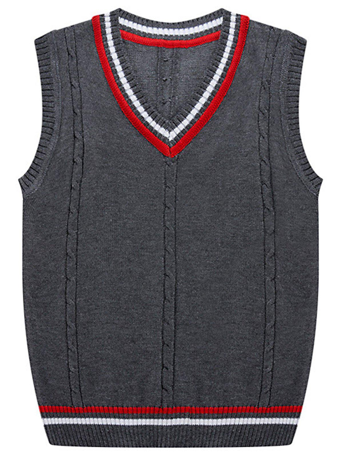 Store Stripe Ribbed V Neck Kink Knitted Vest