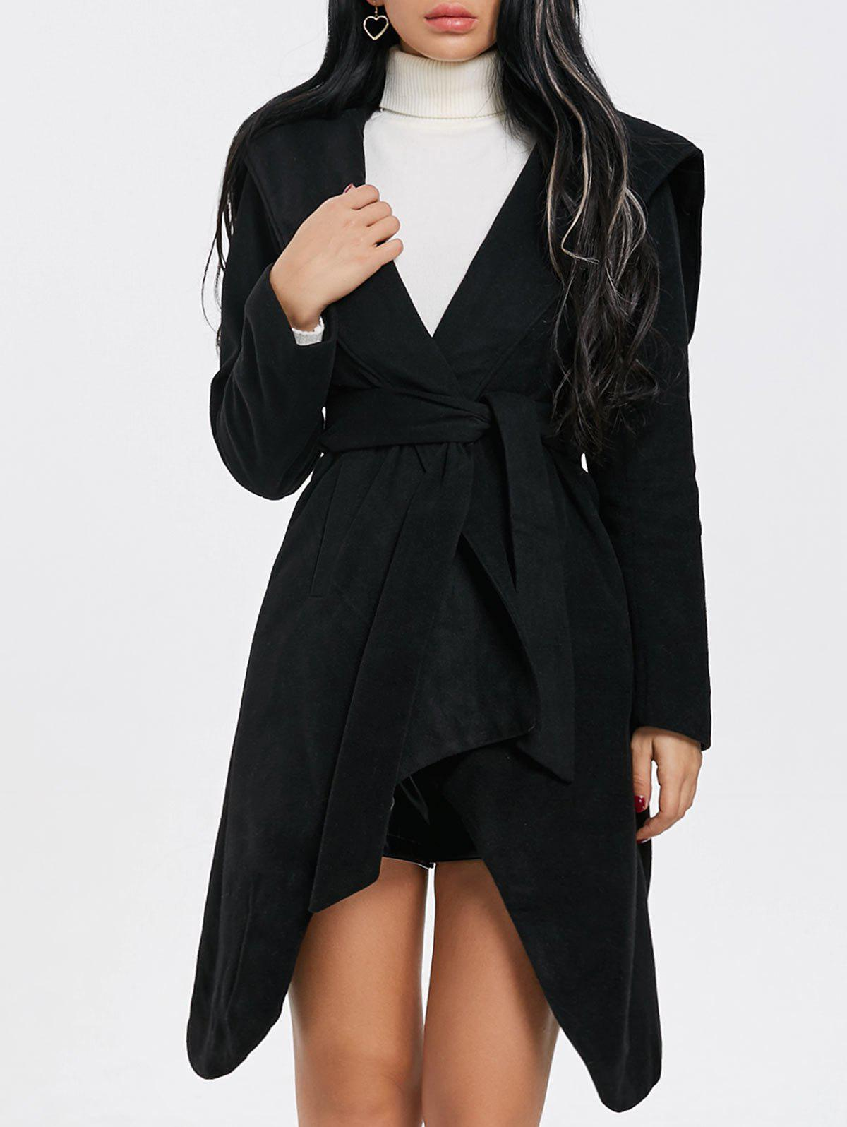 Chic Hooded Wrap Belted Coat
