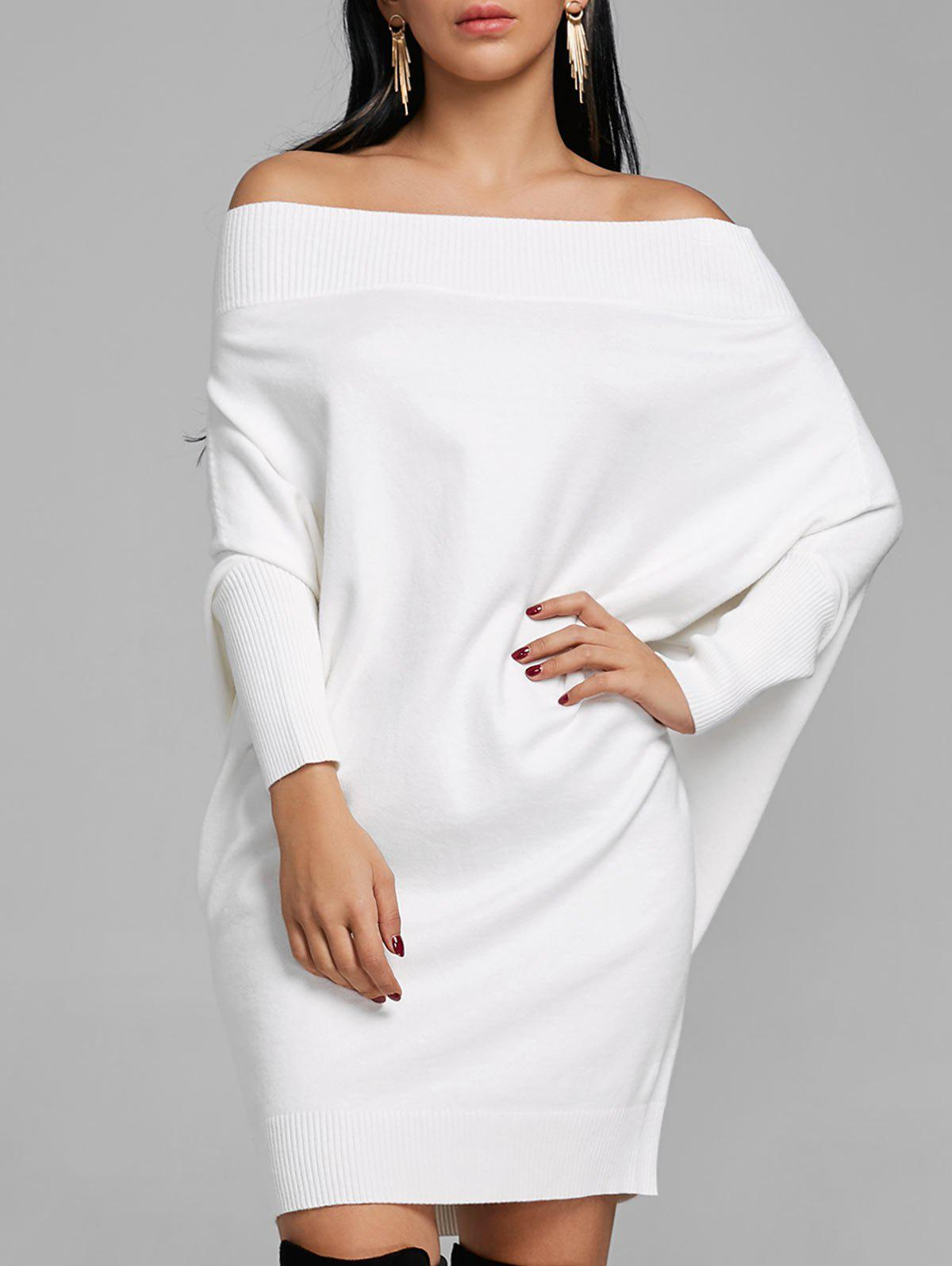 Shops Batwing Sleeve Off The Shoulder Kint Dress