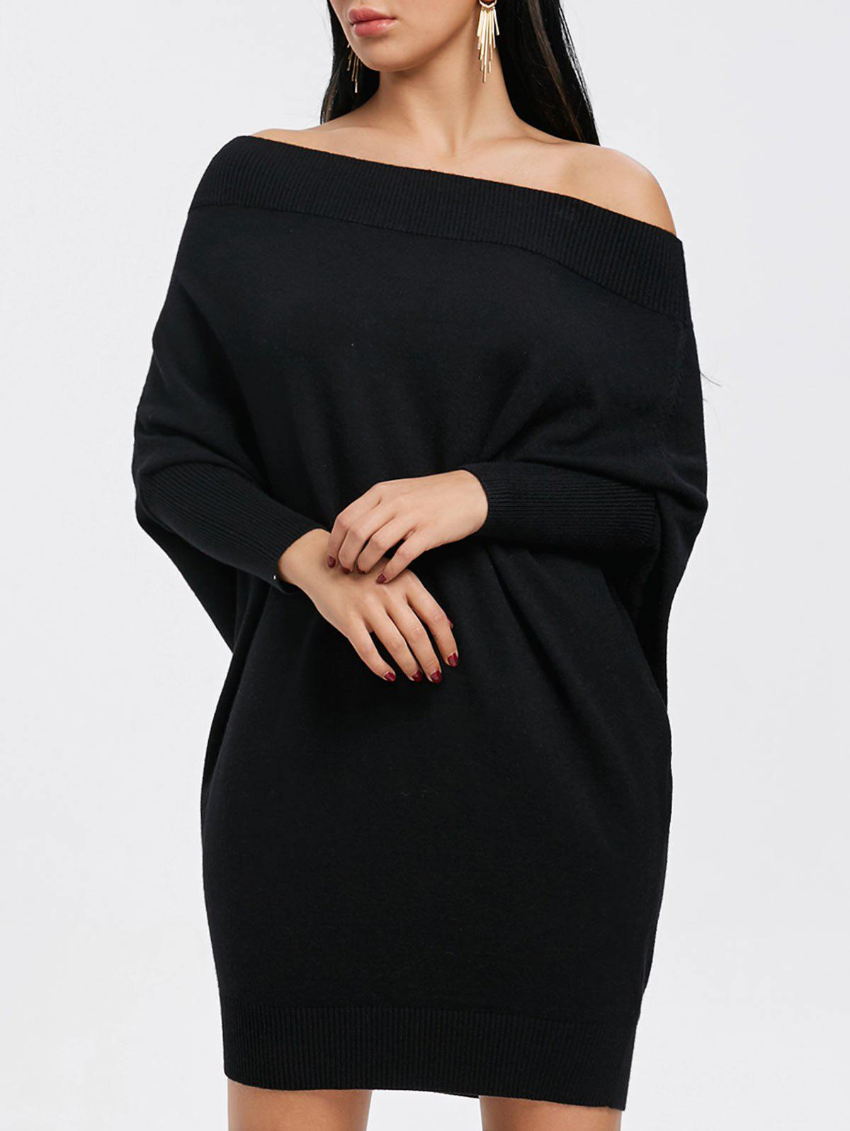 Fashion Batwing Sleeve Off The Shoulder Kint Dress