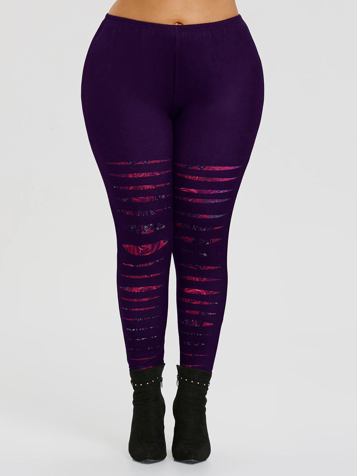 Best Ripped Rose Print Plus Size Workout Leggings