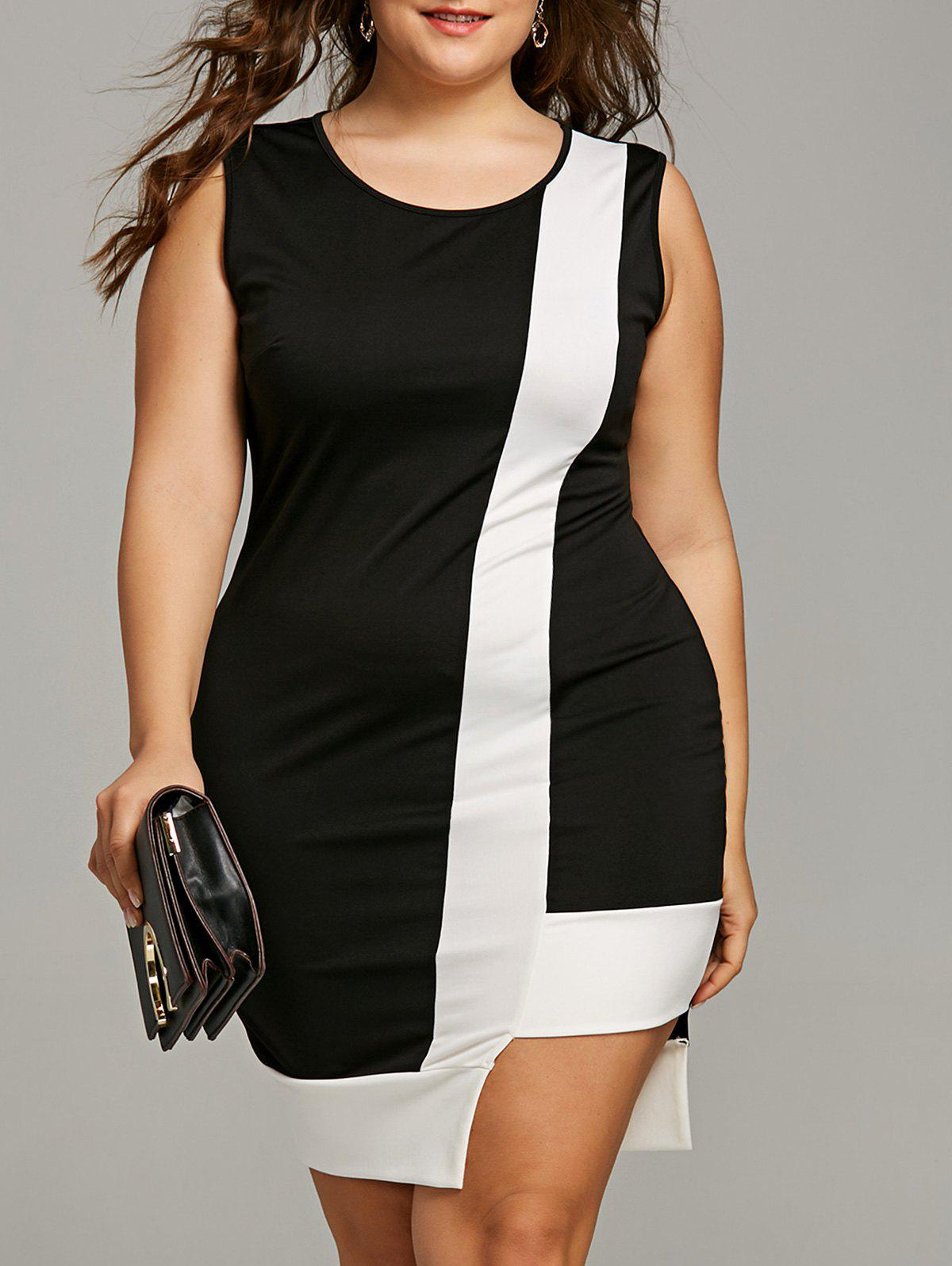 Unique Plus Size Sleeveless Two Tone Bodycon Dress