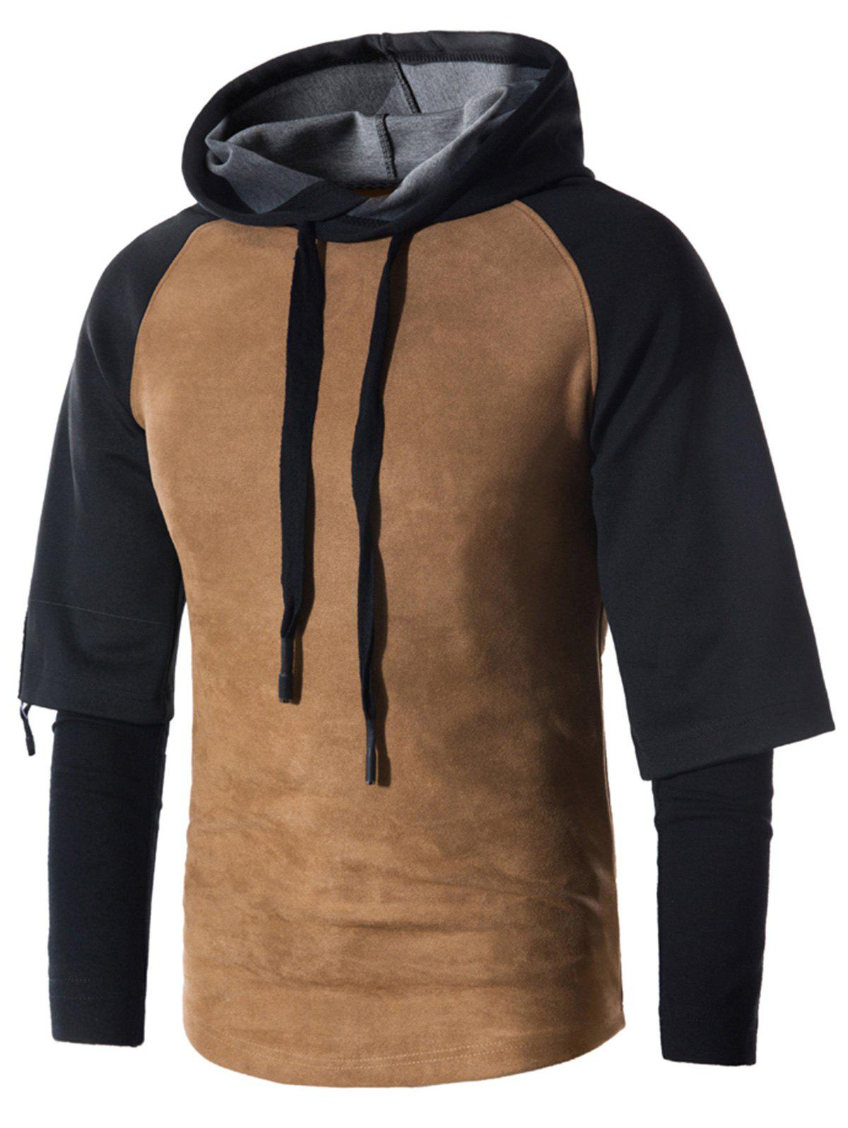 Sweat à Capuche Pull-over Panneau en Suède à Cordon Faux Twin-set
