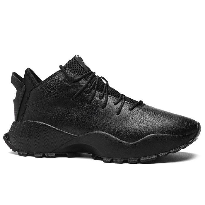 Affordable Mesh Tongue Faux Leather Sneakers
