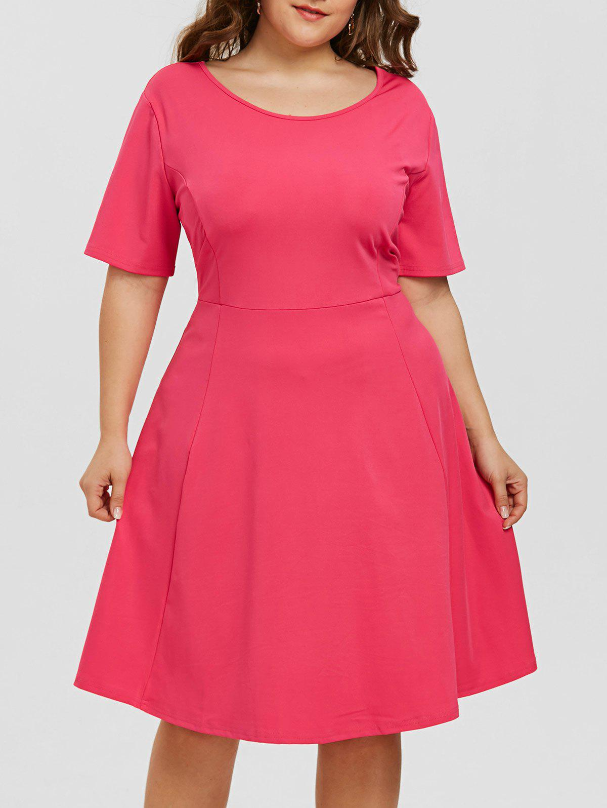 Best Scoop Neck A Line Plus Size Dress
