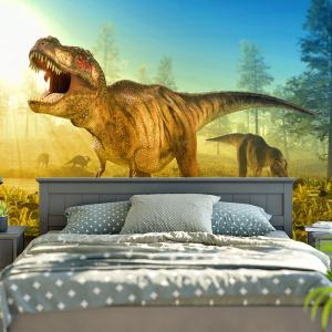 Dinosaur Foraging For Food In The Forest Print Wall Tapestry -