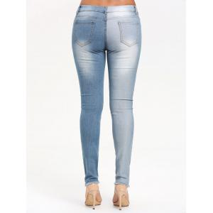 Two Tones Raw Edge Ripped Jeans -