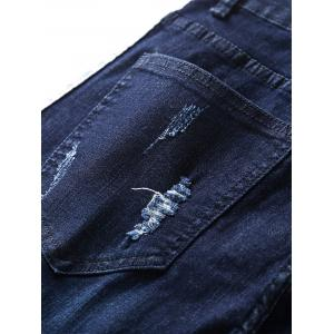 Zipper Fly Ripped Straight Leg Jeans -