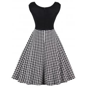 Plus Size Cap Sleeve Houndstooth Print Dress -