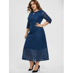 Floral Lace Keyhole Plus Size Dress -