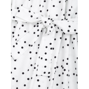 Off Shoulder Overlap Polka Dot Mini Dress -