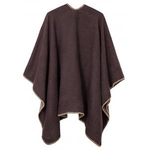 Drap Front Collarless Plus Size Poncho -