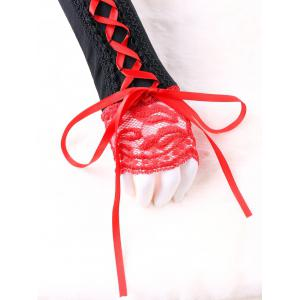 Lace Up Two Tone Fingerless Arm Warmer -