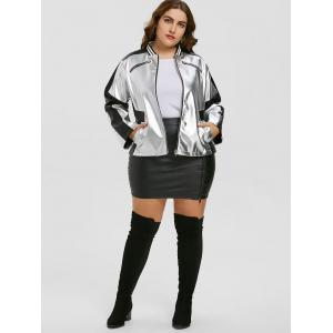 Faux Leather Panel Zipper Plus Size Jacket -