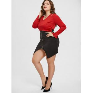 Plus Size Surplice Slit Cut Out Dress -