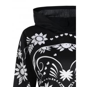Plus Size Skull Floral Tunic Hoodie -