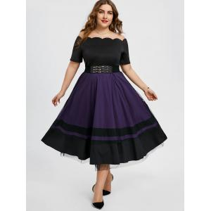 Taille Plus Off The Shoulder Party Midi Dress -