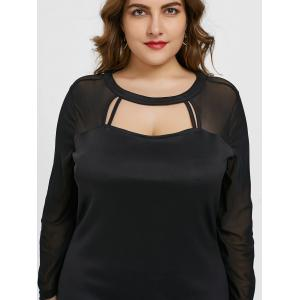 Plus Size Sheer Mesh Panel Cut Out Dress -