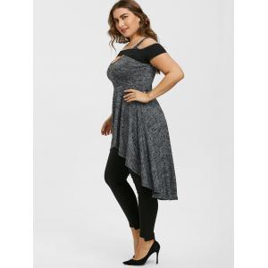 Plus Size High Low Open Shoulder Cut Out Tee -