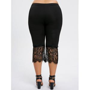 Plus Size Lace Hem Capri Pants -