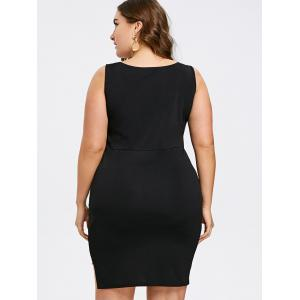 Plus Size Two Tone Sleeveless Bodycon Dress -